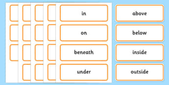 Positional Language Word Cards (Simple) - Postion, Positional, Positional Language, Position Words, up, down, inside, outside, next to, North, South, East, West