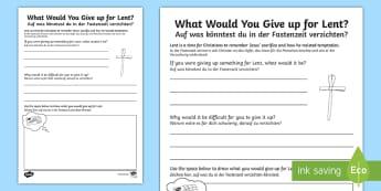 Lent Activity Sheet English/German - Easter, ash wednesday, fasting, fastenzeit, worksheet