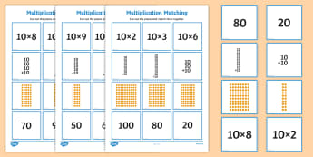 10 Times Table Multiplication Matching Puzzle - times table, multiplication, matching, puzzle, activity, 10