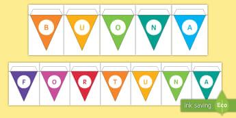 Buona fortuna Le bandierine - , colorato, colorare, decorazione, decora, italiano, italian