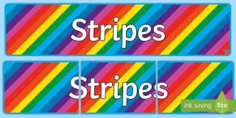 Stripes Display Banner - KS1, banner, colour, pattern, stripe, stripy, rainbow