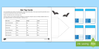 Bats Top Card Game - Home Education Lapbooks, echolocation, bat species, vampire bat, flying fox