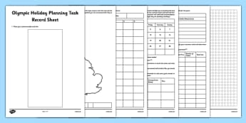 Olympic Holiday Planning Task Record Sheet - Plan, itinerary, year 6, after SATS, post SATS, maths project, real life, application, year 6 project