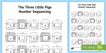 Three Little Pigs Number Sequencing to 20 Activity  - three little pigs, 3 little pigs, Winter, number recognition, counting in 2s, 0-20, counting, worksh