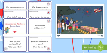 Independence Day Scene and Question Cards - 4th July, July 4th, American Independence, 4th of July, scene, question cards, Independence Day scen