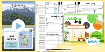 Continuous Actions - Adding -ing Lesson Pack - ESL Present Continuous