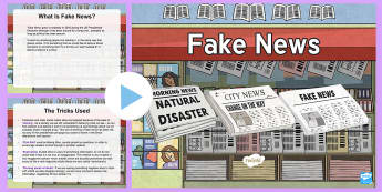 Teacher INSET What Is Fake News? PowerPoint - faek news, news, fake, satire, propaganda, social media, facebook, twitter, snapchat, trump, scam, i