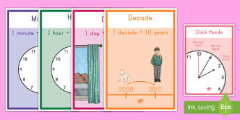 Units of Time Display Posters - time, posters, units of time, month, day, century, signs