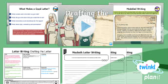 Significant Author: Macbeth: Letter Writing 3 Y6 Lesson Pack - English planning, elizabethan, play, Shakespeare, informal letter, relative clauses