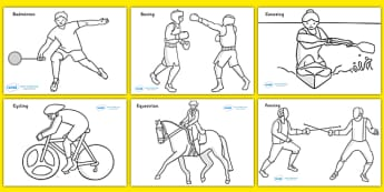 The Olympics Sport Colouring Colouring Sheets - Olympics, Olympic Games, sports, Olympic, London, 2012,  colour, colouring, sheets, fine motor skills, vines, worksheet, activity, Olympic torch, medal, Olympic Rings, mascots, flame, compete, events, t