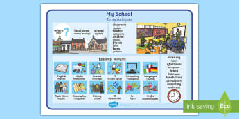 My School Word Mat - English / Greek - EAL, classroom, class, vocabulary, objects, routine, timetable