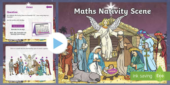 UKS2 Maths Nativity Scene Quiz PowerPoint - Christmas Maths, Interactive Quiz, Time Fillers, Nativity, Number, Fluency, Reasoning, Problem Solvi