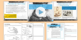 Formal Elements of Art - Line: Cross-Hatching PowerPoint - Secondary, Design, Year Seven, Year 7,  Line, Tone, Colour, Shape, Form, Texture, Pattern, Observati