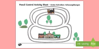 Train Track Pencil Control Path Activity Sheets English/German - Train Track Pencil Control Sheet - train, transport, motor skills, motorskills, pencilcontrol, trian
