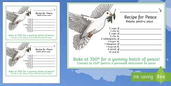 Recipe for Peace Activity Sheet English/Romanian