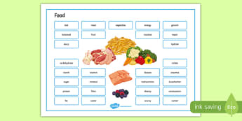 Food and Diet Word Mat