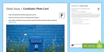Global Issues 1 GCSE Foundation Tier Photo-Card French - Speaking, oral, environment, recycling, recycle, plastic, bottle, paper, water, save, waste, planet earth