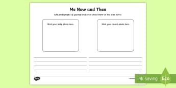 Myself Now and Then Activity Sheet - Junior and Senior Infant  PlanningSubject Planning, growing, changing, worksheet, photo, cut, paste,