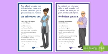 Whole School Literacy A4 Display Poster - Secondary - Whole School Literacy, Standard English, expectations, classroom rules, whole school, li
