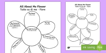 All About Me Flower Writing Template English/Italian - Ourselves, All about me, family, Ks1, Y1, Year 1, EYFS, Reception, Growing, growth, flower, plant, p