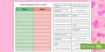 Saint Dwynwen True or False Statements - Reasoning, Questioning, Literacy, myths and legends, stories, tradition, traditional