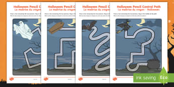 Halloween Pencil Control Paths Activity Sheets English/French  -  Halloween, Control, Path,pencil control, worksheet, worksheets, activity sheet, EAL French