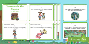 Treasures in the Garden Talk Cards - Twinkl originals, fiction, KS1, EYFS, comprehension, Inference, deduction