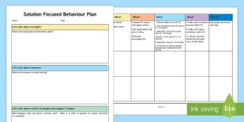 Solution Focused Behaviour Planning Template - ASN, support for learning, behaviour, behaviour plan, behaviour planning, solution focused plan, sol