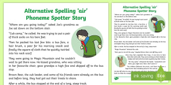 Alternative Spelling 'air' Phoneme Spotter Story - air, are, ere, ear, grapheme, spelling, alternative sounds,EYFS, Reception, Year One, Year Two, Year