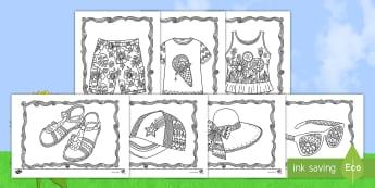 Somerklere Inkleur bladsye  - seisoene, weer, temperatuur, warm, fynmotories, potlode, kryte