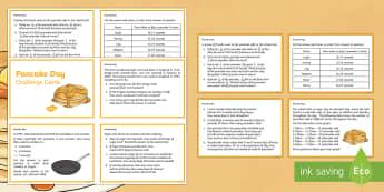 Year 4 Pancake Day Maths Challenge Cards -  Pancake Day, Year 4 Maths, Year 4 Pancake Day Maths, Year 4 Pancake Day Numeracy, Year 4 Challenge