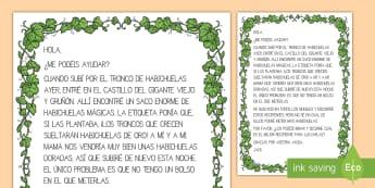 Actividad en grupo: Carta de Jack - Capacidad - CI - jack, habichuela, haba, cuento, tradicional, hadas, cuento de hadas, oro, dorado, carta, lectura, le