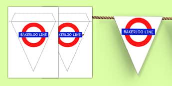 London Underground Bakerloo Line Themed Display Bunting - london underground, bakerloo line, display bunting