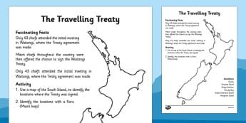 Waitangi Day Activity Sheet The Travelling Treaty - waitangi day, activity, sheet, travel, treaty, worksheet