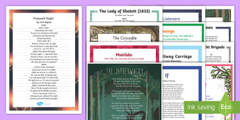 KS2 Classic Poetry Resource Pack - poetry, verse, rhyme, classics, the highway man, the jabberwocky, the owl and the pussycat, lady of