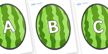 A-Z Alphabet on Melons (Vertical) - A-Z, A4, display, Alphabet frieze, Display letters, Letter posters, A-Z letters, Alphabet flashcards