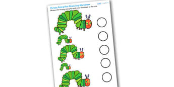Measuring Activity Sheet to Support Teaching on The Very Hungry Caterpillar - the very hungry caterpillar, hungry caterpillar, measuring, measurements, measuring worksheet, caterpillar