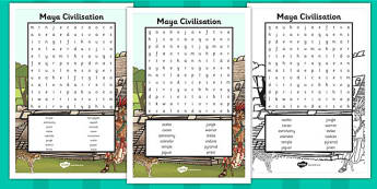 Maya Civilisation Wordsearch - wordsearch, mayan, maya, history