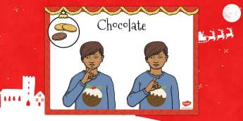A4 British Sign Language Sign for Chocolate - sign, chocolate