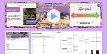 Christian Pilgrimages Lesson Pack - Christian Practices; Pilgrimage; Iona; Walsingham; Jerusalem; Lourdes; Taize