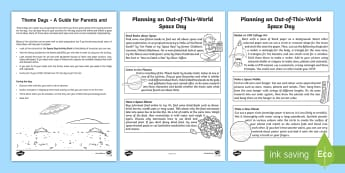 Space Day Activity Sheet - astronaut, alien, rocket, planets, days in, holidays, family, worksheet