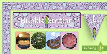 Bubble Station Display Pack - KS1, classroom, organisation, display, ks1 science, bubbles, board, border, bunting, bubble photos