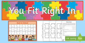 Back to School Puzzle Mural Display Pack - Beginning of School Resources, puzzle, fitting in, class, students, display