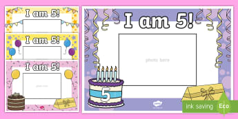 I Am Five Photo Frame Cut-Outs - Age, birthday, number, mathematics, photo frame