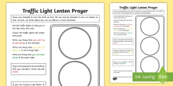Traffic Light Lenten Prayer Worksheet / Activity Sheet - NI Easter, Lent, Lenten Promise, going off, deeds, Easter promise, fasting, Easter Sunday, Ester Mon