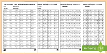 Year 3 Times Table and Division Challenge Activity Sheet - yr 3, year 3, y3, golden 100, times table test, all times tables, big times table test, assessment,