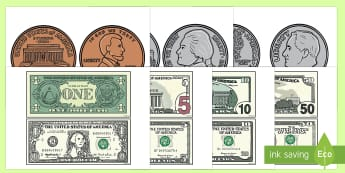 US Currency Print-Out - coin, dollar, bill, money, currency, penny, nickel, dime, quarter