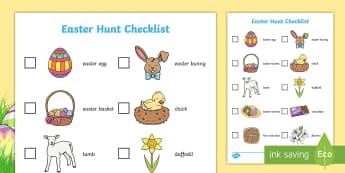 Easter Hunt Checklist - Spring Hunt Checklist - spring, seasons, easter, hunt, easter hunt, objects hunt, can you see?, spri
