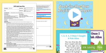 EYFS Jack-in-the-Box Reciting Numbers Activity Adult Input Plan and Resource Pack - Mathematics, Numbers, Counting, Recites, Order, Game, Maths, Toys, Early Years Planning, Adult Led,