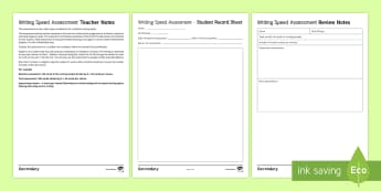 Writing Speed Assessment Sheet - Summative Assessment, writing style, Access Arrangements, Functional Skills, Entry Level, GCSE, SENC